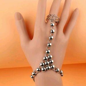Jewelry - Gypsy Boho Silver Bead & Woven Ring Bracelet